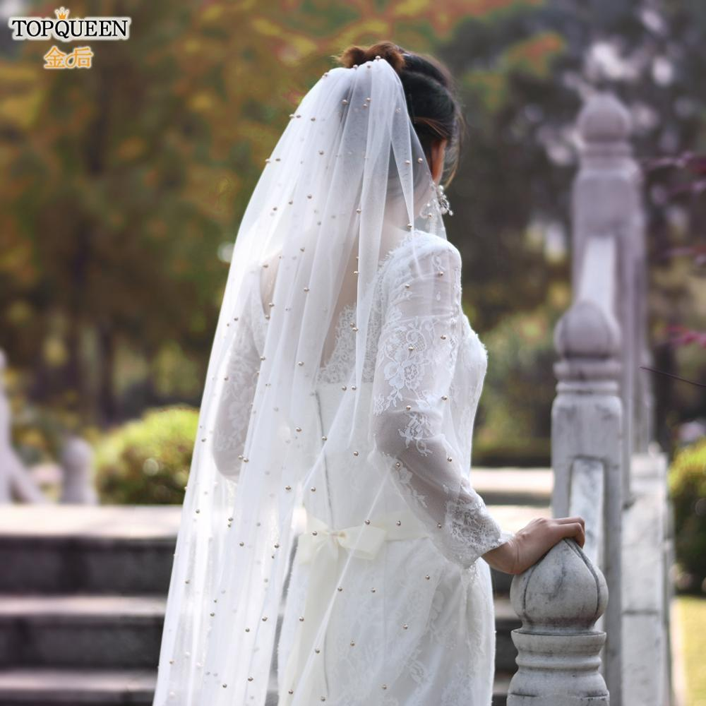 TOPQUEEN V11 Champagne Pearl Church Veil Bohemian Veill Wedding Elegant Tulle Wedding Veil with Comb Wedding Veils for Brides