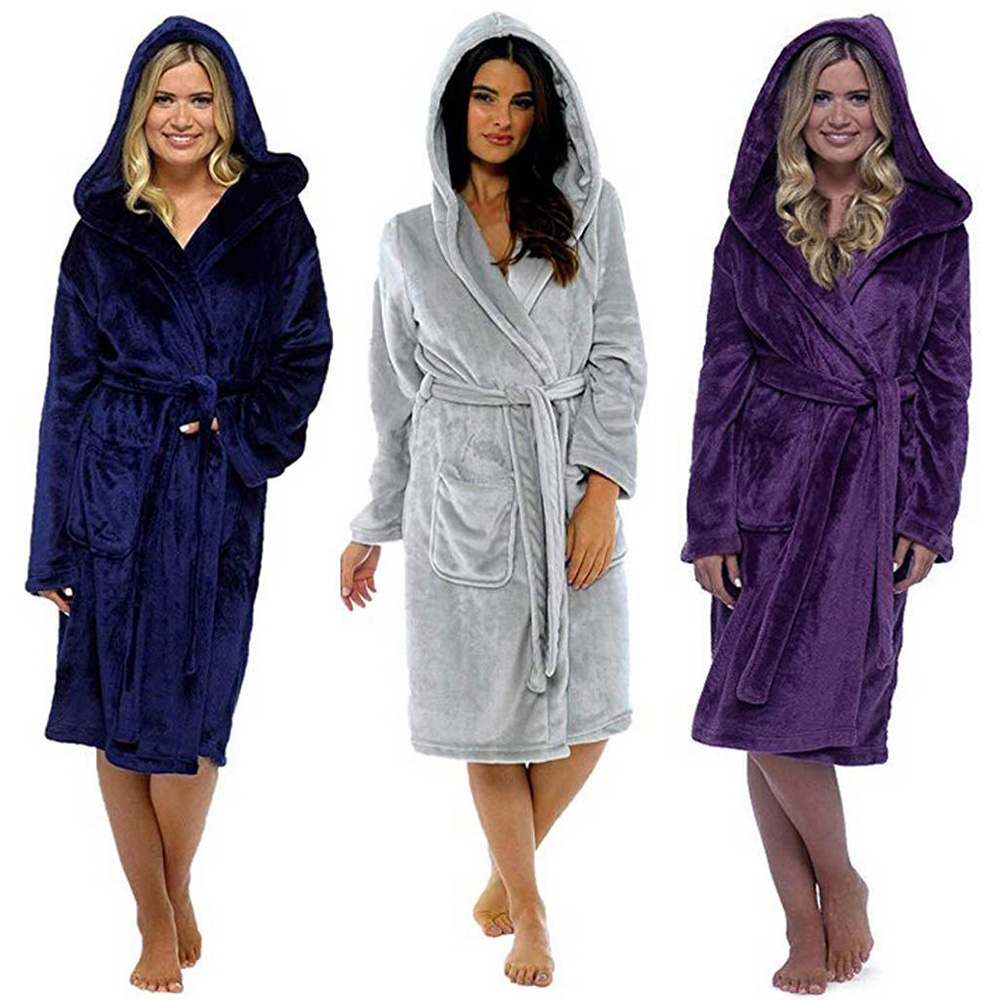Women Kimono Hooded Bathrobes Warm Thick Female Robe With Sashes Flannel Robe Nightgown Winter Home Couple Bath Gown Nightwear