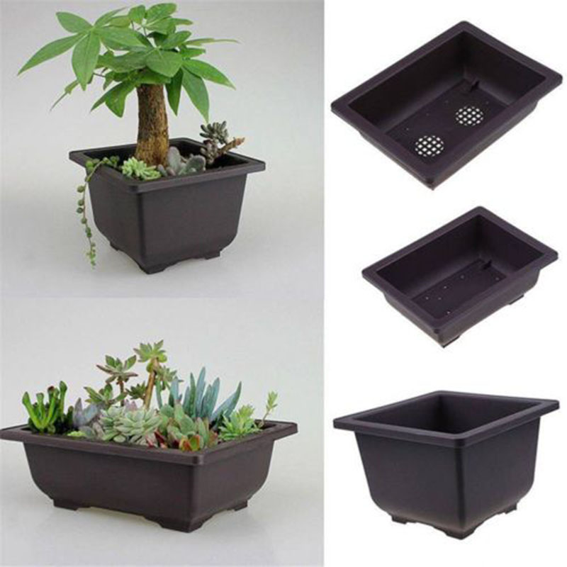 1pc Plastic Flower Pot Balcony Square Rectangle Basin Home Bonsai Plant Bowl Planter Nursery Flowerpot Rectangle