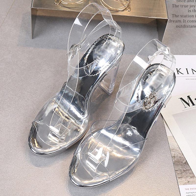 Ladies open toe high heel women buckle pump ankle strap pvc jelly shoes high quality sandals summer sexy brand shoes for ladies