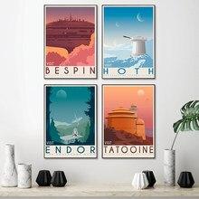 Tatooine – peinture artistique Vintage imprimée planète Hoth, affiches de voyage, film rétro, affiches de paysage, tableau d'art mural, décor de maison