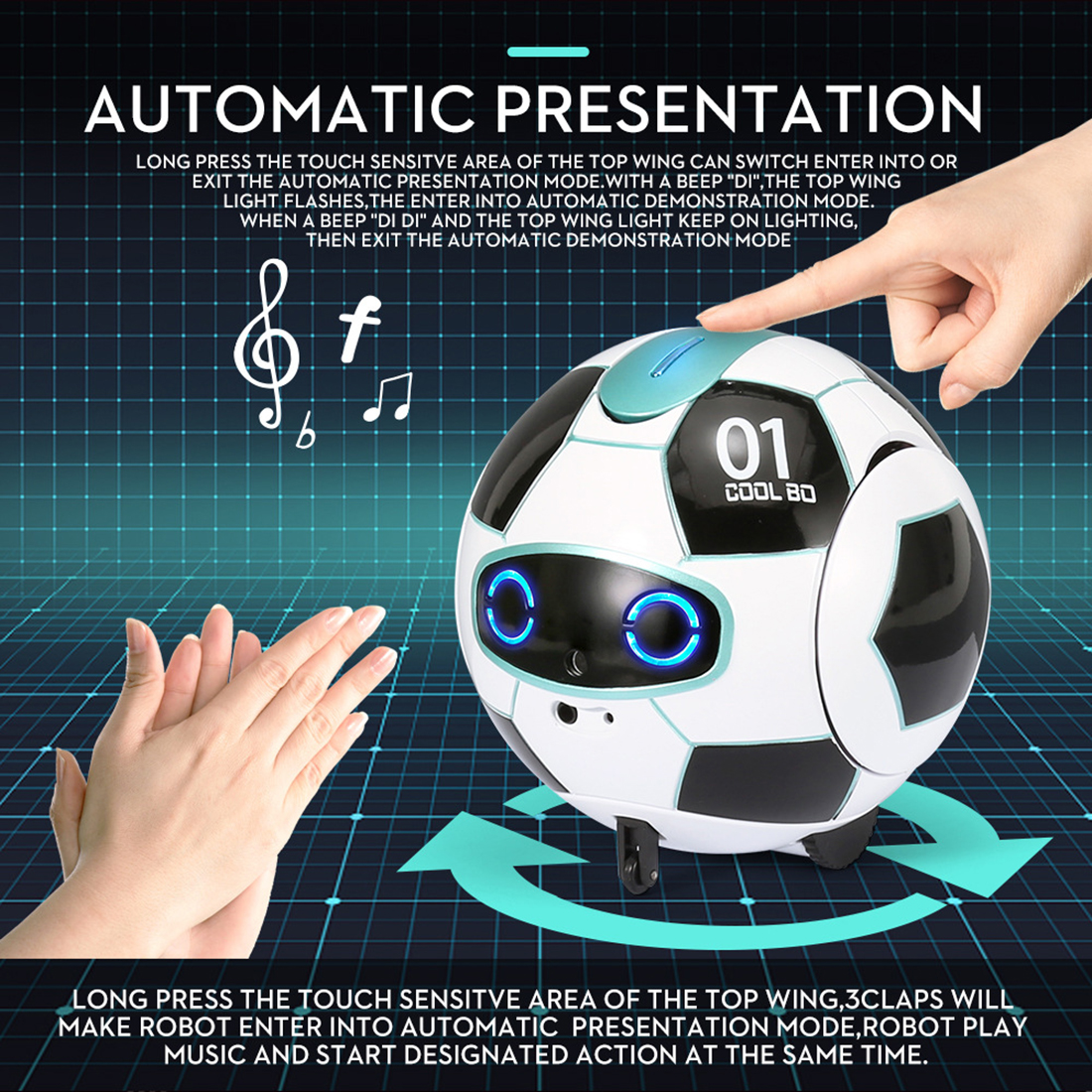 ITECHOR Multifunctional Speech Recognition Ball Robot Children Science And Educational Toy Voice Recognition Robot Audio Video