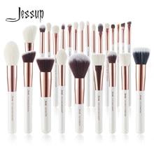 Jessup Pinceau de maquillage professionnel Set de maquillage Beauté Cosmétique Fond de teint Power Blushes Cils Pinceaux poils synthétiques naturels 6-25pcs Blanc nacré/rose Or