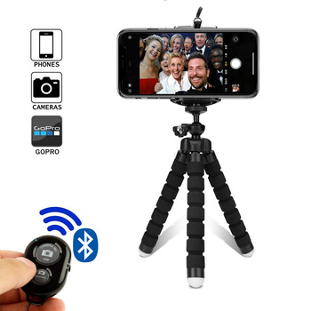Mini Tripod for Phone Bluetooth Selfie Remote Stick Flexible Sponge Octopus Monopod for Camera Holder with Remote for Gopro Kits alloyseed mini flexible sponge octopus tripod portable phone camera holder bracket for gopro camera dslr mount