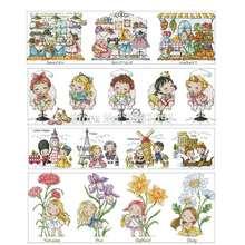Серия кукол шаблоны для вышивки крестом 11ct 14ct 18ct китайские