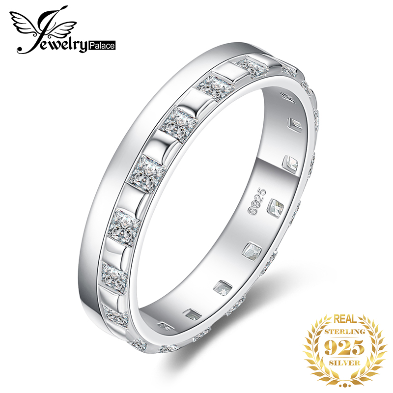 JewelPalace Square Wedding Rings 925 Sterling Silver Rings For Women Stackable Anniversary Ring Eternity Band Silver 925 Jewelry
