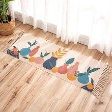 Alfombra de lino de algodón con borlas para puerta de bienvenida, alfombras para pasillo, alfombras antideslizantes para baño, alfombrillas para pies, alfombrillas para oración