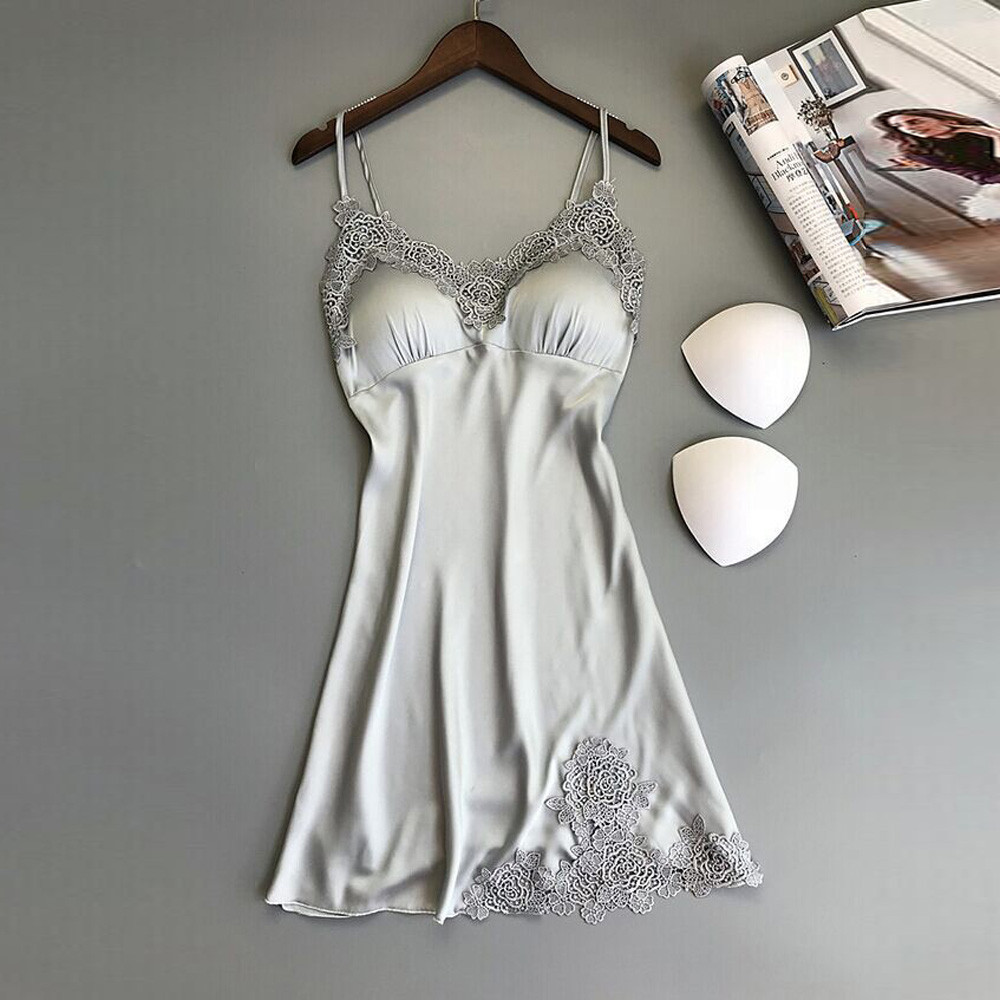 <font><b>Sexy</b></font> Lingerie Silk Nightgown Women <font><b>Dress</b></font> Lace <font><b>Night</b></font> <font><b>Dress</b></font> Sleepwear Babydoll Nightie Satin Homewear Chest Pad Nightwear <font><b>Girl</b></font> *50 image
