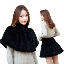 Winter Warm Fashion Knitted Mink Fur Shawls Wraps Real Fur Capes Casual Fur pullovers Women's Fur Skirts(China)