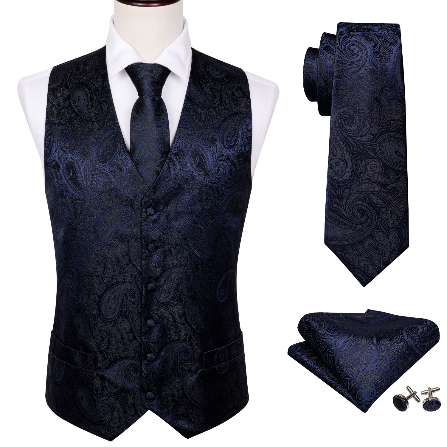 4PC Mens Extra Silk Vest Party Wedding Purple Paisley Solid Floral Waistcoat Vest Pocket Square Tie Suit Set Barry.Wang BM-2016