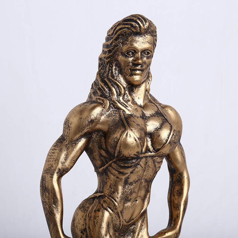 Big Size 34cm Female Bodybuilding Trophy Boxing Champion Female Model Medal Award Trophy Home Furnishing Sports Souvenir Gifts S