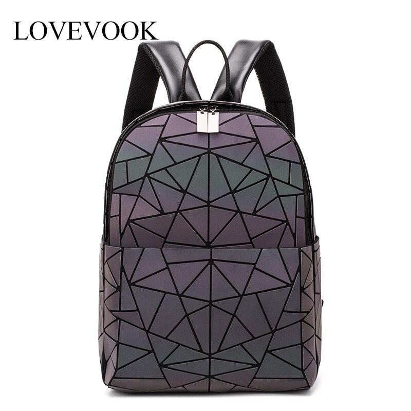 Women Backpack School-Bag Teenagers Large-Capacity Girls Luminous LOVEVOOK for Foldable