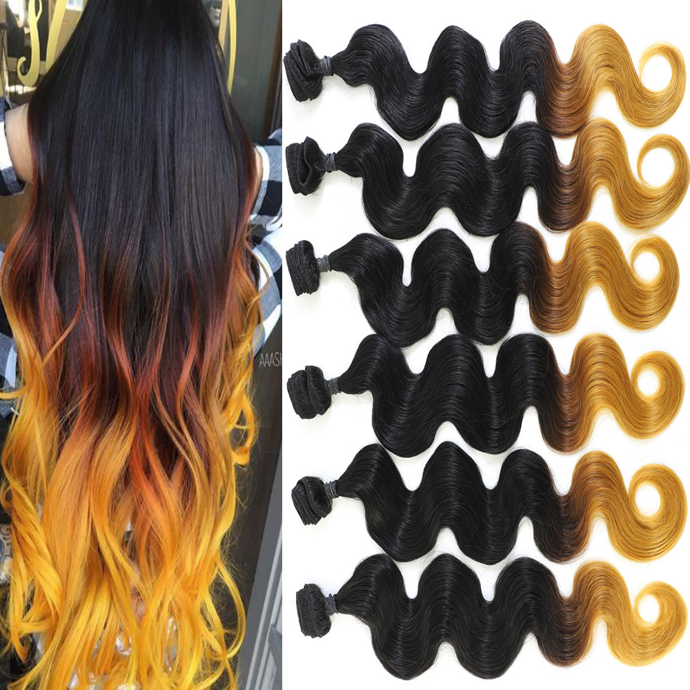Live Beauty Synthetic Body Wave Hair Bundles 6Bundles 240G 24' Synthtic Ombre Yellow Hair Extension All In One Soft smooth hair