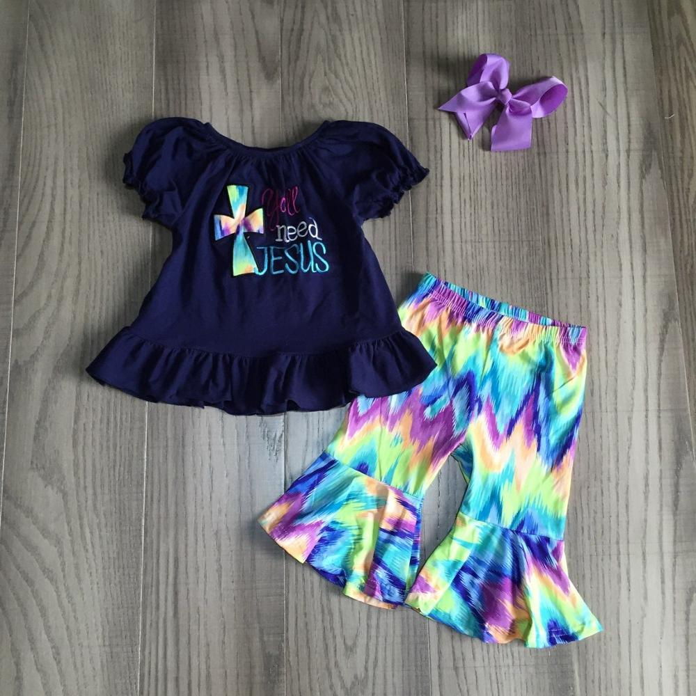 Girl Summer Outfit Children Cross Shirt With Tie Dye Pants Girls Bell Bottom Outfit With Bow
