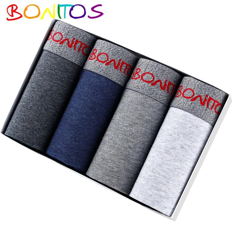 4 peças dos homens roupa interior boxers de bambu cueca masculina sexy sob o uso boxer sexy homem calecon homem de algodão pênis 2019