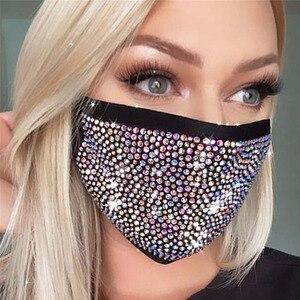 Fashion Woman Daily Jewelry Mask Sparkly Rhinestone Face Mask Costume Nightclub Party Mask Glitter Jewelry Accessories XH