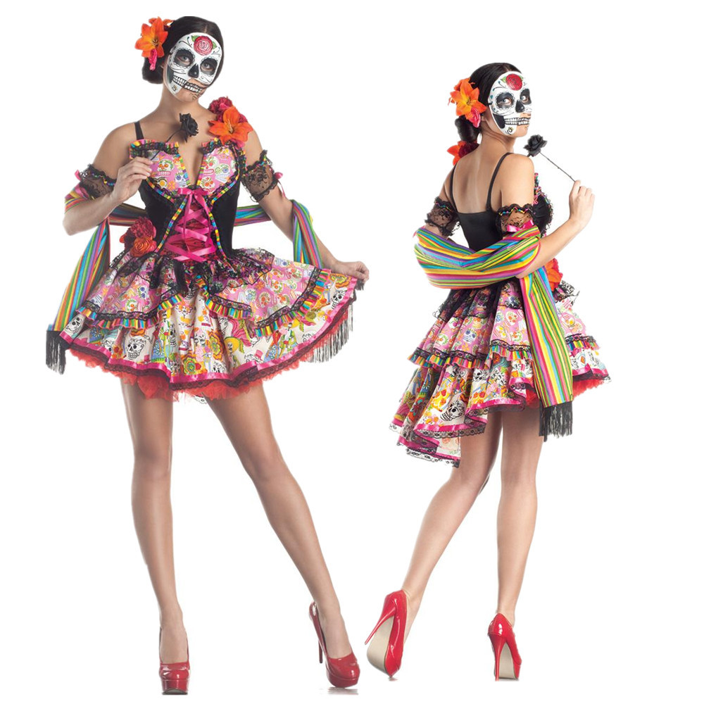 Lady Mexico Day Of The Dead Costume Horror Skull Skeleton Corpse Bride Cosplay Carnival Halloween Fancy Party Dress