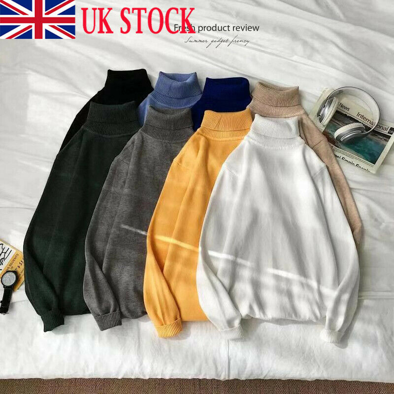 UK Men's Fashion Winter Warm Knitted Solid High Roll Turtle Neck Pullover Sweater Jumper Tops 2019 New