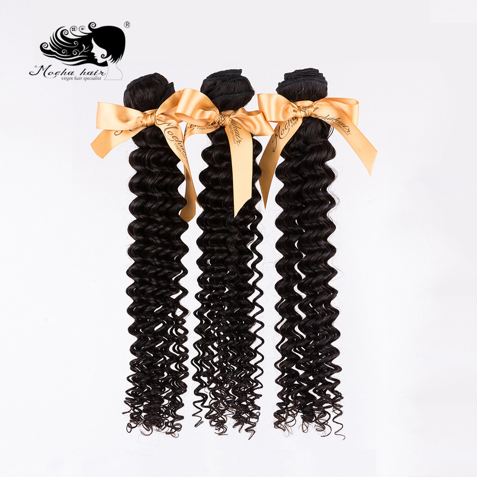 Mocha Hair Weave Deep-Wave 3-Bundles 100%Human-Hair Brazilian Natural-Color title=