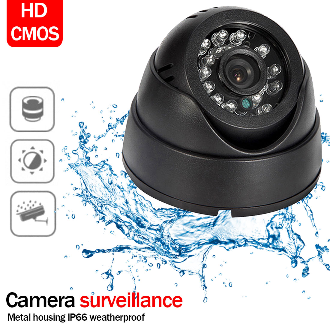 1080P IP Camera 3.6mm Wide Angle HD Dome Camera Vandal Proof Waterproof IR LED Indoor Outdoor Network IP Camera image