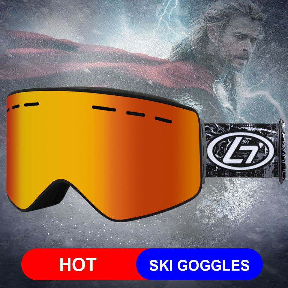 Loogdeel Magnet UV Double Lens Ski Snowboard Goggles HD Women Men Skiing Eyewear UV 400 Snow Protection Glasses Adult Anti-Fog