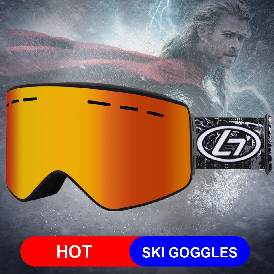 Loogdeel Magnet UV Double Lens Ski Snowboard Goggles HD Women Men Skiing Eyewear UV 400 Snow Protection Glasses Adult Anti-Fog