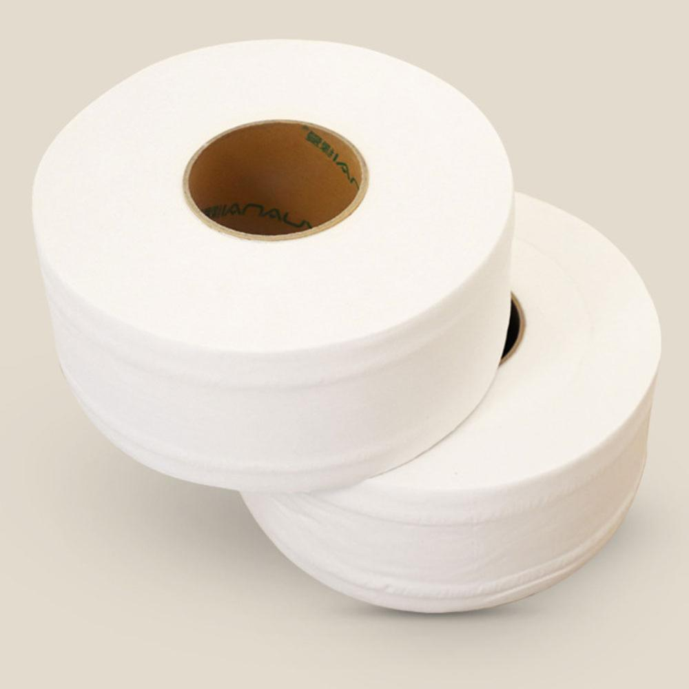 2 Rolls Toilet Paper 2-Layer Jumbo Roll Native Wood Soft Toilet Paper Pulp Home Rolling Paper Strong Water Absorption