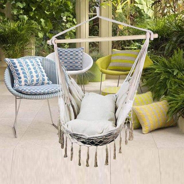 Macrame Hanging Porch Swing Hammock Chair  1