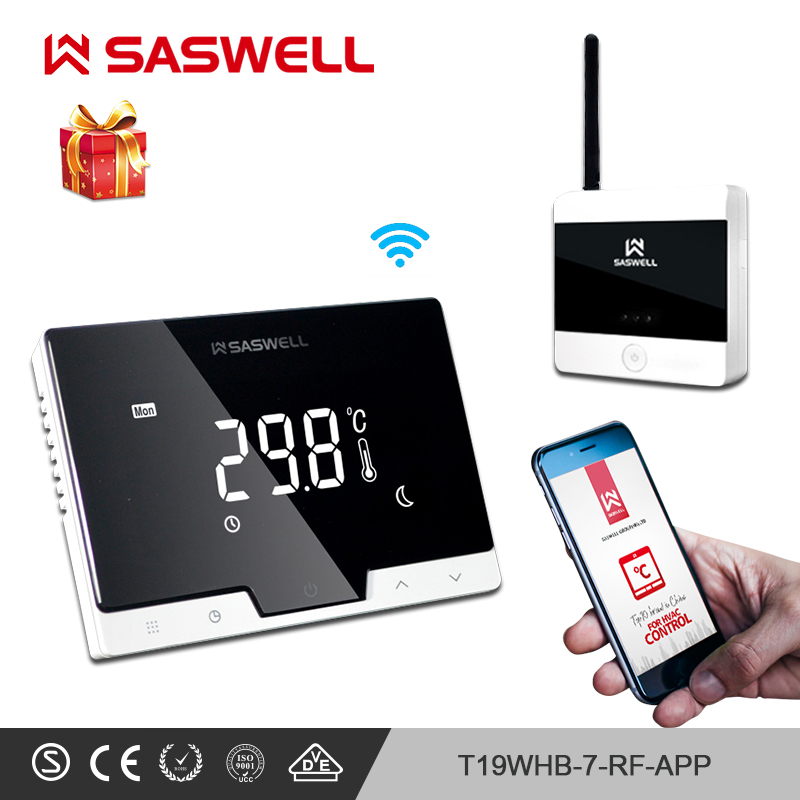 SASWELL WiFi Thermostat Temperature Controller Smartphone APP Flat Back Wall Mount Room Wireless Programmable Thermoregulatort