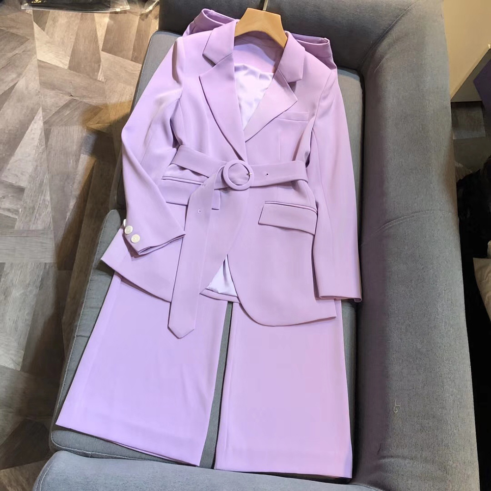 New Women Sets Spring 2020 Fashion Long-sleeved Blazers Suit Set Blazer and Wide-leg Trousers Two-piece Suit Set