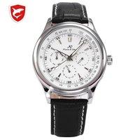 Ks Роскошные автоматические часы с календарем, ремешок из натуральной кожи, подарок, аналоговые наручные часы в деловом стиле, мужские механ...