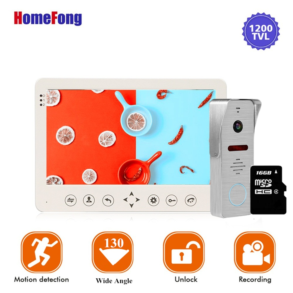 Homefong 7 Inch Video Intercom Doorbell  Doorbell Door Phone Camera Wide Angle 130 Degree White Motion Detection Recordable Card