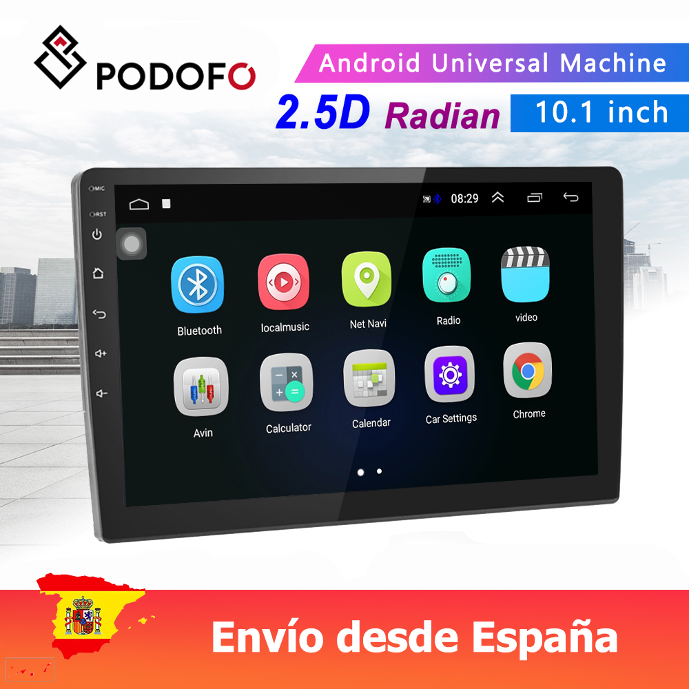 Podofo 10.1'' Android 8.1 Car Radio 2.5D Tempered Glass Mirror Car MP5 Player 2 Din With Mirror Link GPS WIFI Rear Camera