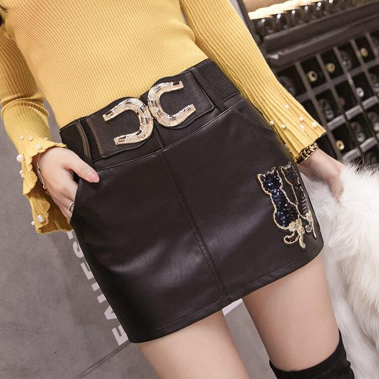 Photo Shoot Autumn And Winter Leather Shorts Women's Outer Wear 2018 New Style Autumn And Winter Leather Pants Skirt High-waiste