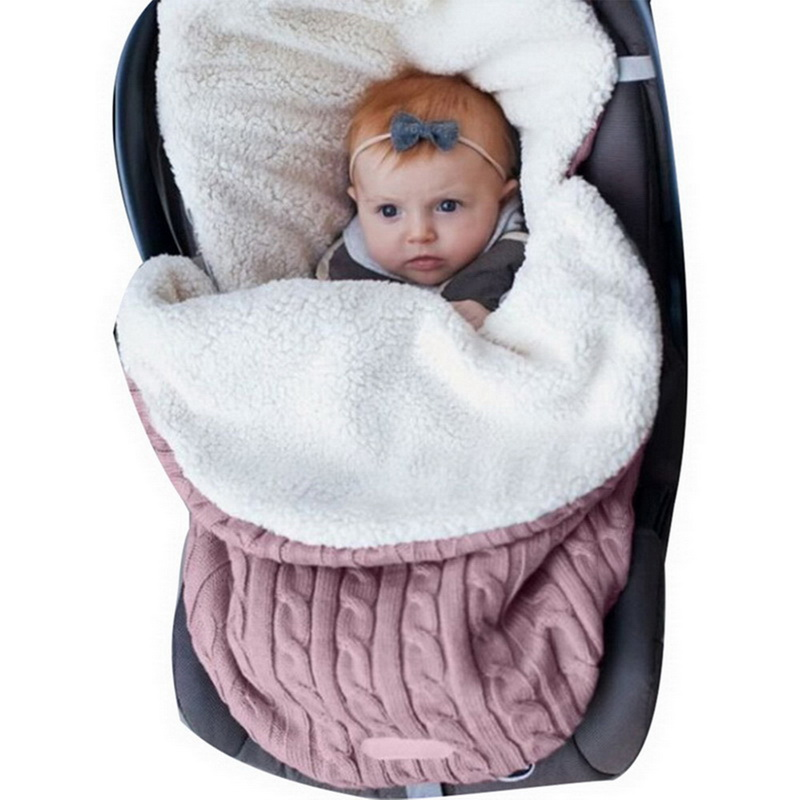 Baby Sleeping Bag Newborn Winter Autumn Warm  Infant Stroller Cotton Knitted Envelopes Blanket Unisex Fleece Sleep Sack 3