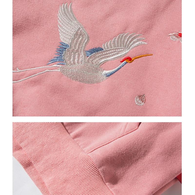 Image 5 - 2019 Streetwear Hip Hop Hoodie Sweatshirt Embroidery Japanese  Sakura Crane Men Harajuku Hoodie Pullover Cotton Blue Japan  StyleHoodies