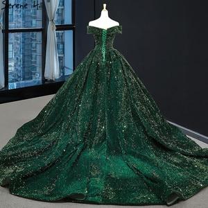 Image 3 - أحدث تصميم الأخضر قبالة الكتف حجم كبير فستان الزفاف 2020 بلا أكمام فاخر الدانتيل الترتر فستان زفاف BHM66742 كوتور