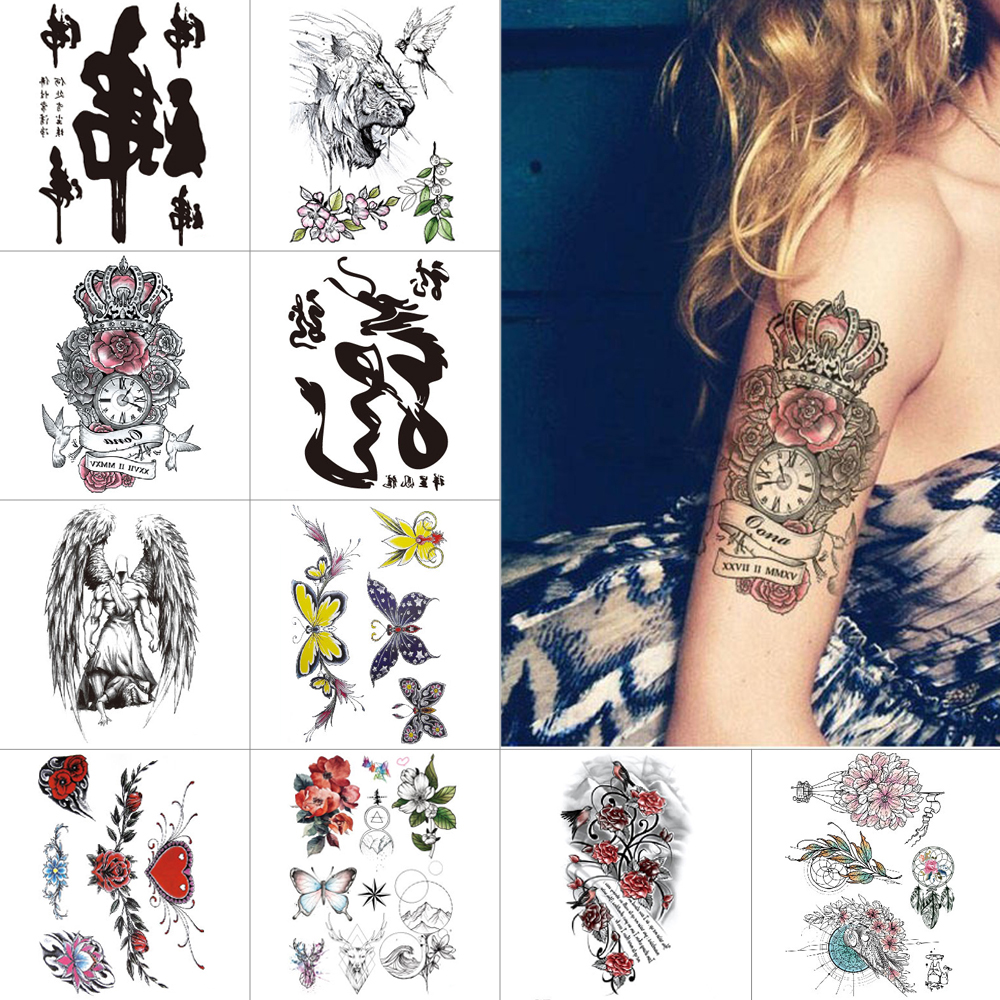 Waterproof temporary tattoo stickers Lion fox fake tattoo Flower butterfly Body Small tattoo for women hand Chest