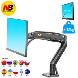 Nb f100a braço da mola de gás 22-35 polegada monitor de tela suporte 360 gire o braço da montagem do monitor do desktop do giro da inclinação com dois portos usb3.0