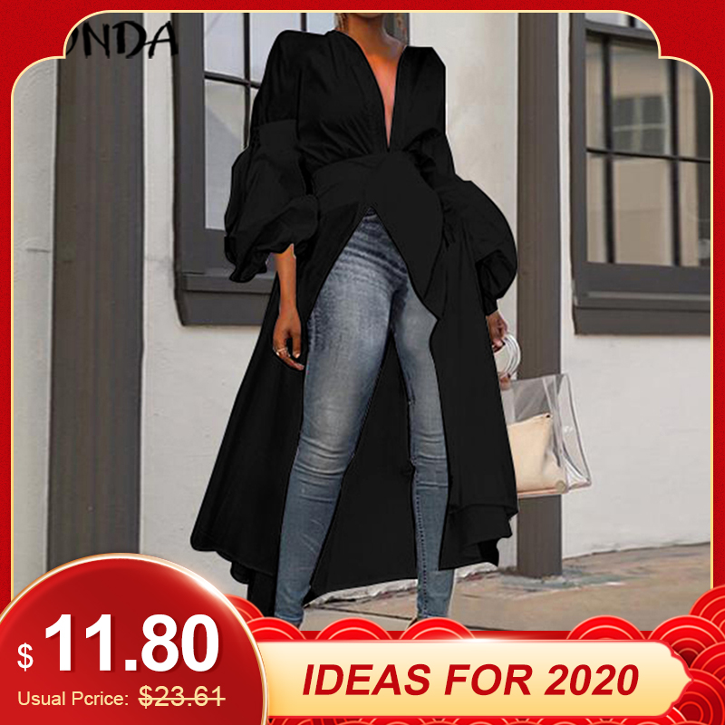 VONDA Casual Asymmetric Tops Women Long Blouse 2019 Autumn Long Lantern Sleeve Party Shirts Tunic Plus Size Blusas Feminina