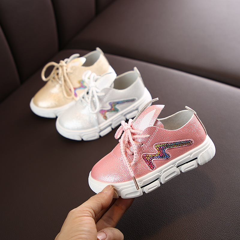2020 Fashion Sequines Stripe Girls Sneaker Breathable Princess Rabbit Kids Shoes Slip On Lace Up Children Sneaker Leather D03061