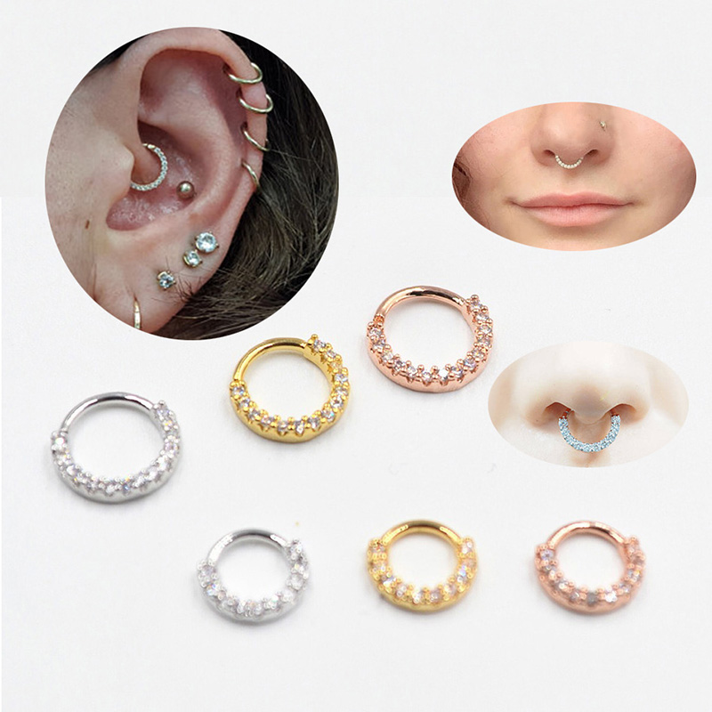 Cartilage Earring Piercing Jewelry Hoop Crystal Stud-Body Simple No Helix Minimal Dainty title=