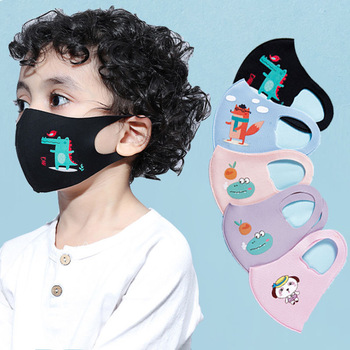 10Pcs PM2.5 Summer Children Mask Breathable Cartoon Animals Thicken Smog Mask Dust Mask Fits 4-12 Years Old Kids Washable