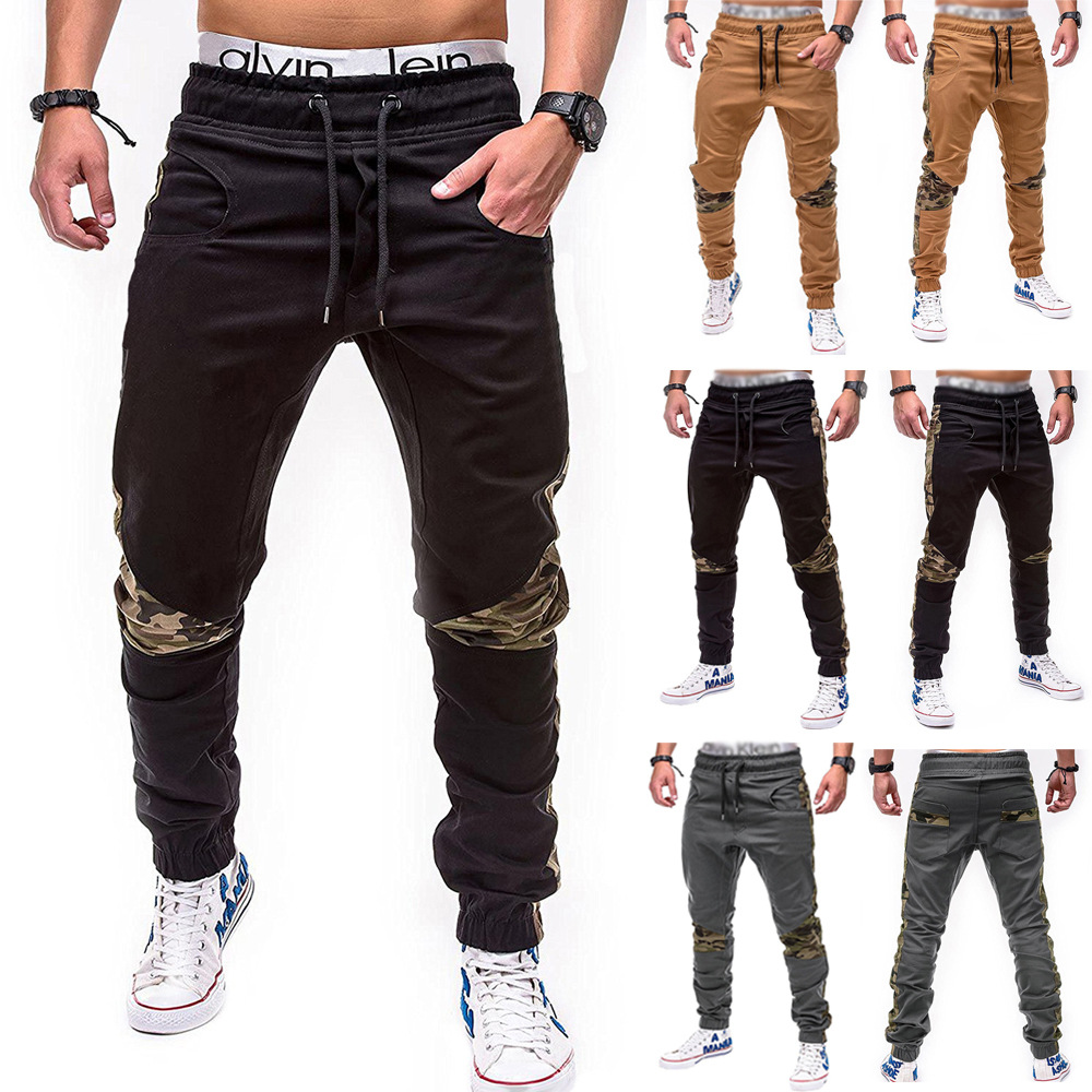 2018 New Style Youth Men Fashion Camouflage Joint Beam Leg Casual Sports Skinny Trousers