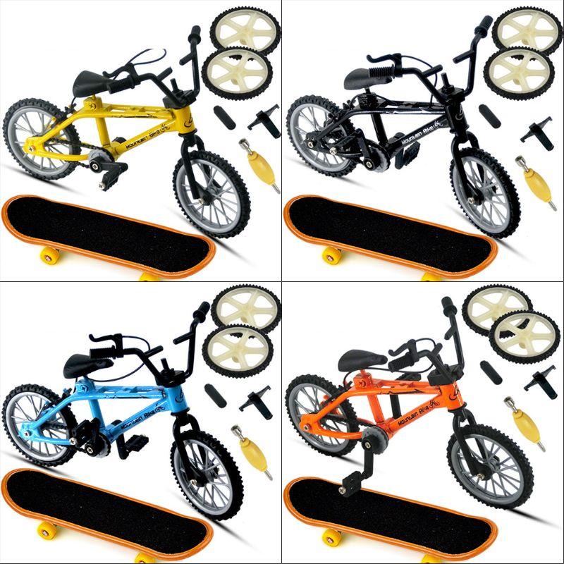 1 Set Mini Alloy Finger Bicycle Sport Set Bike Fingerboard DIY Creative Game Skateboard Kids Children Toys Gifts