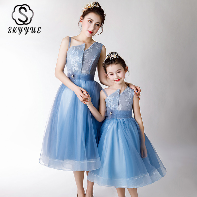Skyyue Blue A-Line Mom And Daughter Dress FB110 Patchwork Formal Prom Gowns Sleeveless Parent Child Party Vestidos De Gala 2020