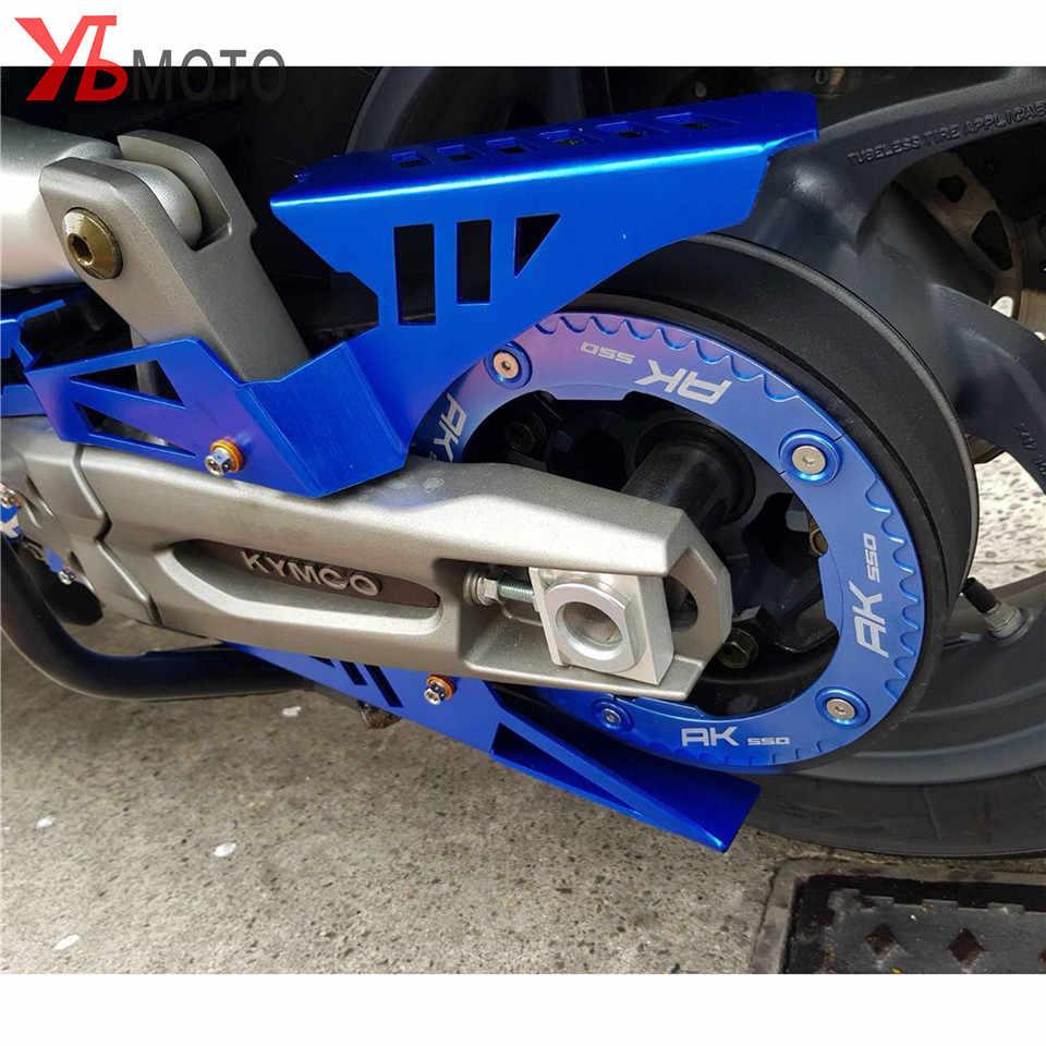CNC alüminyum motosiklet aksesuarları zinciri Guard zincir kemer kapak koruyucu altın kırmızı altın mavi KYMCO AK550 AK 550 2017-2020