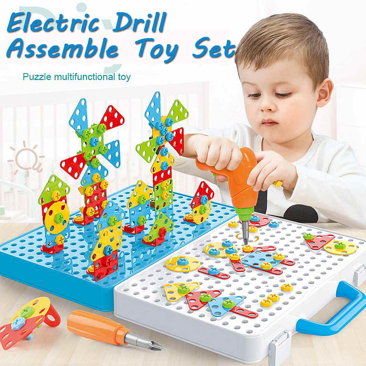 288Pcs Drilling Screw 3D Creative Puzzle Toys For Children Building Bricks Toys Kids DIY Electric Drill Set Educational Toy