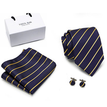 100%silk Luxury Silk Men Tie Set Hanky Cufflinks  Jacquard Woven Gold Striped Neckties For Wedding Party