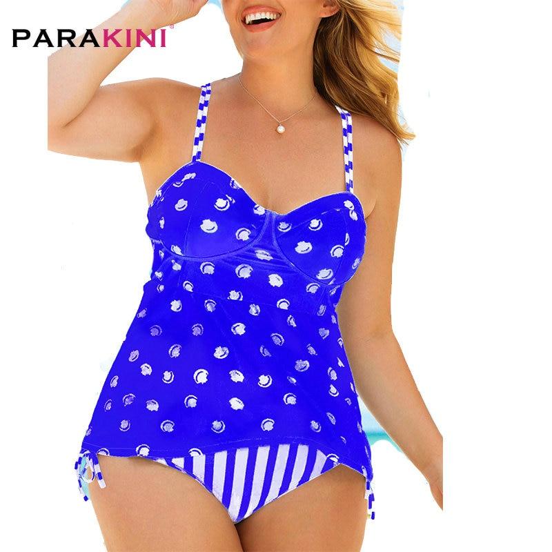 PARAKINI Large Size Swimwear 2020 New Polka Dot Retro Swimsuit Cross Strap Plus Size Tankini And Pant Women Push Up Bathing Suit